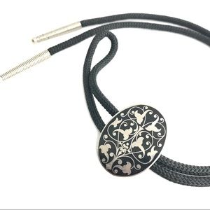 Bolo Tie Damascene South Western Slide Necklace